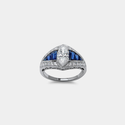 18K Marquise Diamond and Sapphire engagement Ring