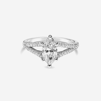 14kt Split Shank Marquise Shaped Diamond Engagement Ring