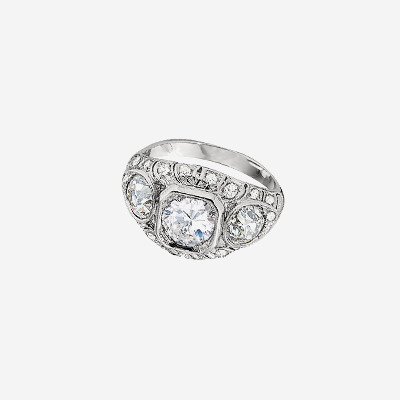 Platinum Antique Diamond Filigree Engagement Ring