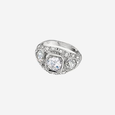Platinum Antique Diamond Filigree Engagement Ring
