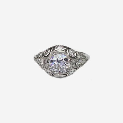 Platinum Antique European Cut Diamond Engagement Ring
