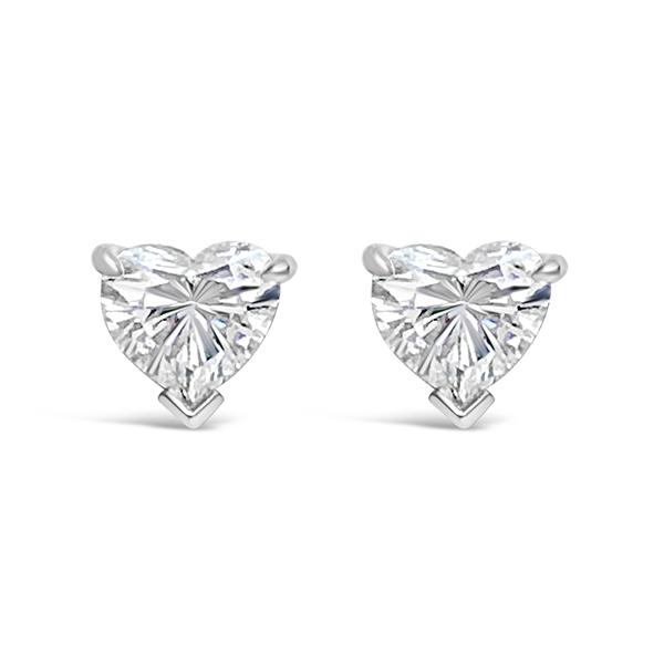 Platinum Tiffany Heart Shaped Diamond Stud Earrings E B