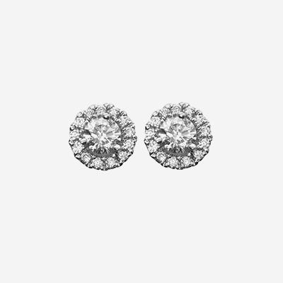 14kt Halo Diamond Earrings