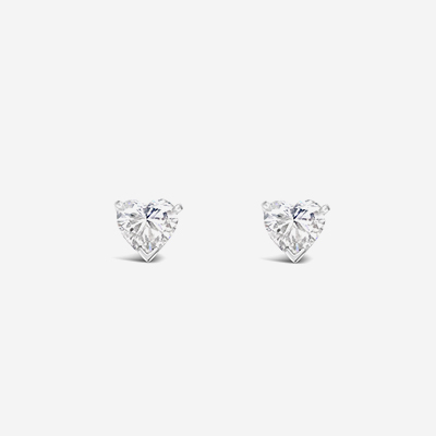 Platinum Tiffany Heart Diamond Stud Earrings
