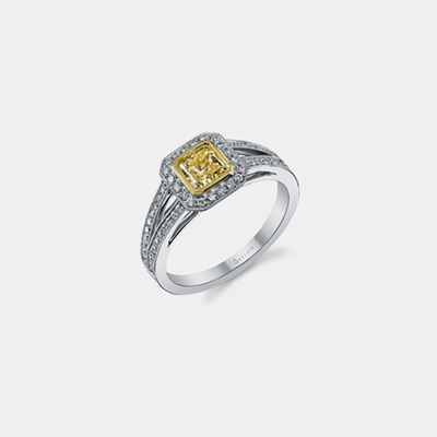 18k Two Tone Fancy Yellow Cushion Diamond Engagement Ring