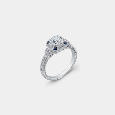 18K Diamond and Sapphire Antique Style Engagement Ring