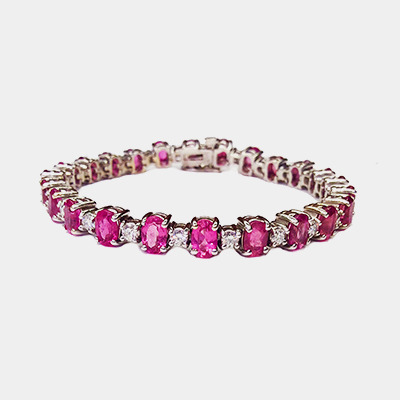 Pink Tourmaline and Diamond Bracelet