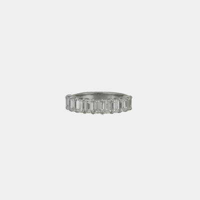 Platinum Emerald Cut Diamond Wedding Band