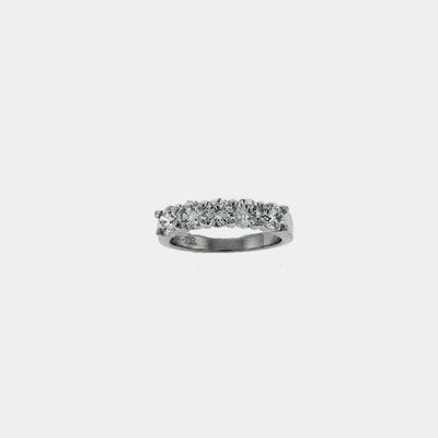14kt White Gold Classic Five Diamond Wedding Ring
