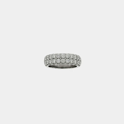 14kt White Gold Two Row Diamond Wedding Band