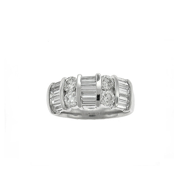 18k White Gold Round & Baguette Diamond Wedding Band - E.B. Horn ...