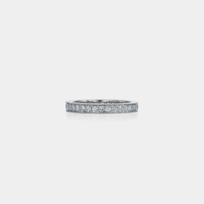 Platinum And Square Diamond Wedding Band