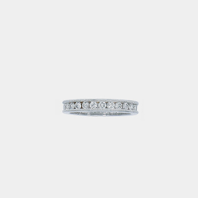 Platinum Diamond Milgrain Channel Eternity wedding band