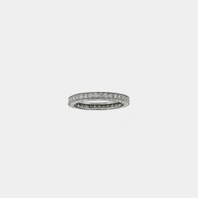 Platinum Diamond Eternity wedding band W/Engraved Sides