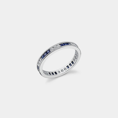14k White Gold, Sapphire And Diamond Eternity Wedding Band