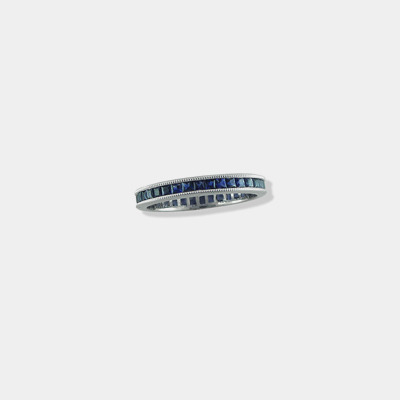 Platinum Milgrain, Sapphire, And Diamond Eternity Band