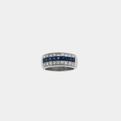 Platinum Diamond & Sapphire Wedding Band