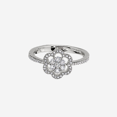 14kt Diamond Flower Cluster Ring