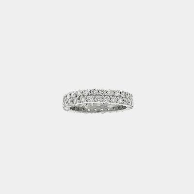 Two Row Diamond Eternity Wedding Band