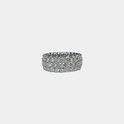 Platinum Three Row Diamond Eternity Wedding Band