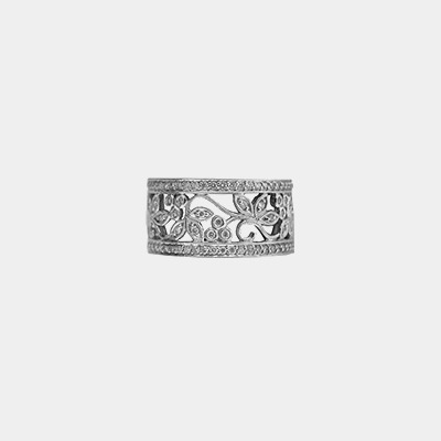 14kt White Gold Filigree Diamond Wedding Ring