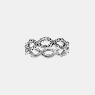 18kt White Gold Infinity Style Diamond Eternity Wedding Band