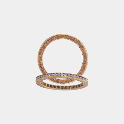 18kt Rose Gold And Diamond Channel Wedding Band