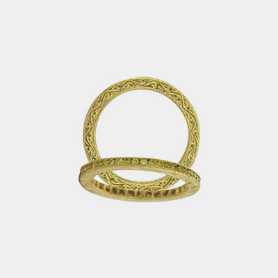 18kt Yellow Gold And Diamond Channel Wedding Band