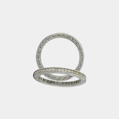 18kt White Gold And Diamond Channel Wedding Band