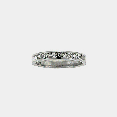 14kt White Gold Princess Cut Channel Set Diamond Wedding Band