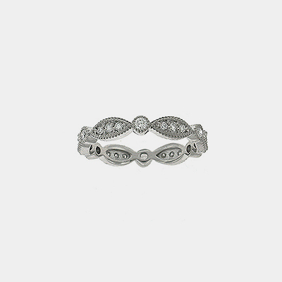 14kt White Gold Antique Style Diamond Wedding Band