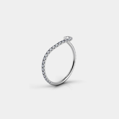 "18k White Gold ""Abbraccio"" Curved Diamond Wedding Band"