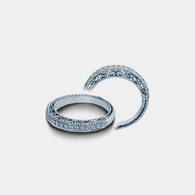 18k White Gold And Diamond Wedding Band Venetian Collection