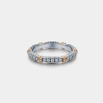 14k White And Rose Gold Wedding Band With Diamonds Parisian Collection