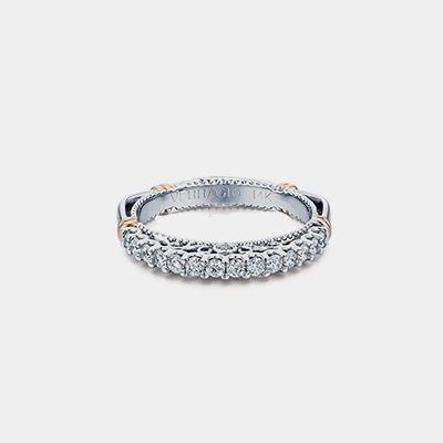 14k White Gold Filigree Diamond Wedding Band Parisian Collection