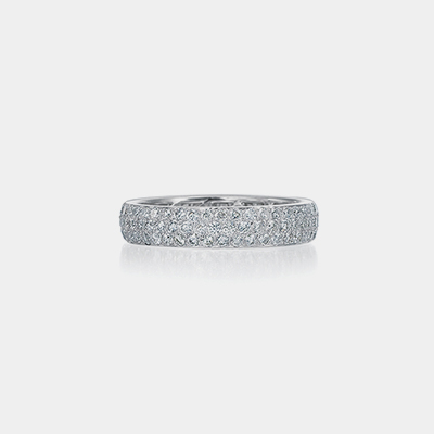18k White Gold Three Row Diamond Eternity Band