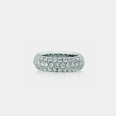 18k White Gold Three Row Diamond Eternity Wedding band