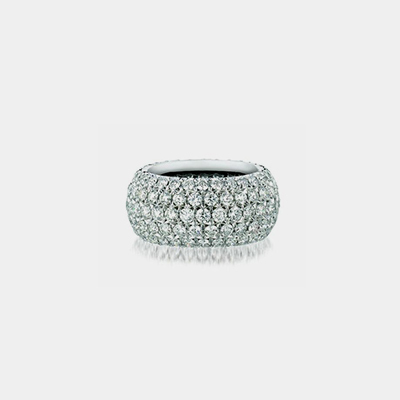 18k White Gold Five Row Diamond Eternity Wedding band