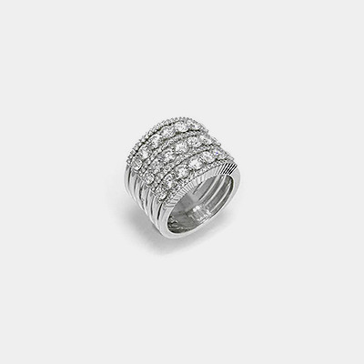 18k White Gold 7 Row Wedding Ring