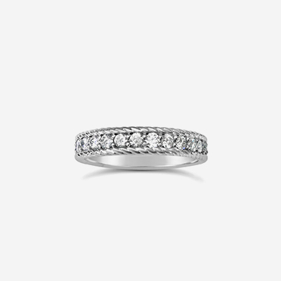 14kt Diamond Eternity wedding Band with Roped Edging