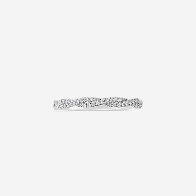 18kt Twisted Diamond Wedding Band