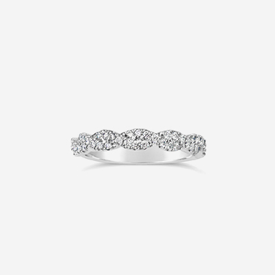Platinum Twisted Diamond Wedding Band
