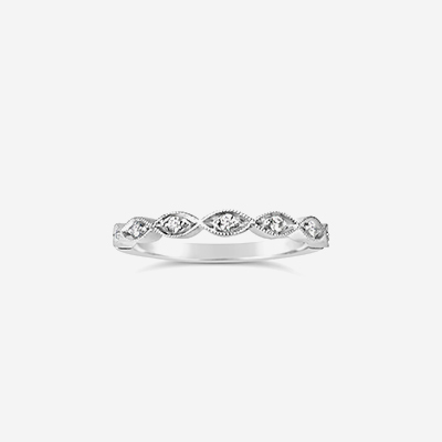 14kt Helix Diamond Wedding Band