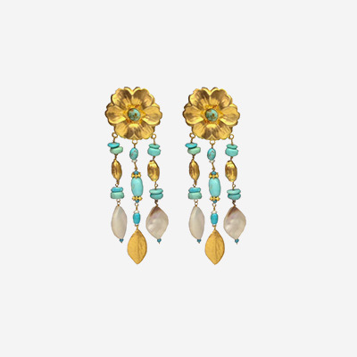 18kt Turquoise Mother Of Pearl Drop Earrings