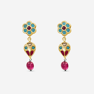 18kt Vintage Stone Drop Earrings