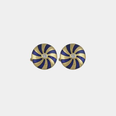 18kt Yellow Gold Blue Enamel Diamond Cufflinks