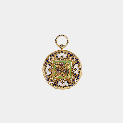 18kt Enamel Pocket Watch