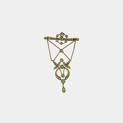 15kt Peridot & Pearl Bar Pin w/Lattice Work