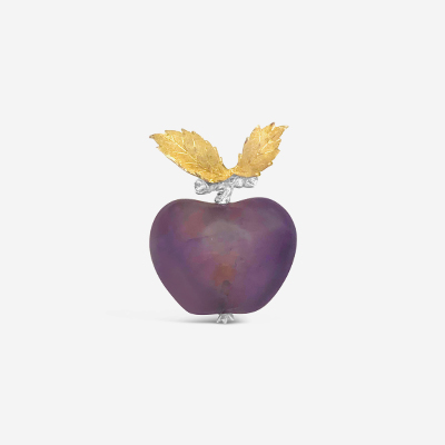 18kt Buccellati Amethyst Apple Brooch