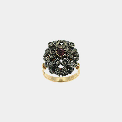 18kt Diamond & Ruby Ring